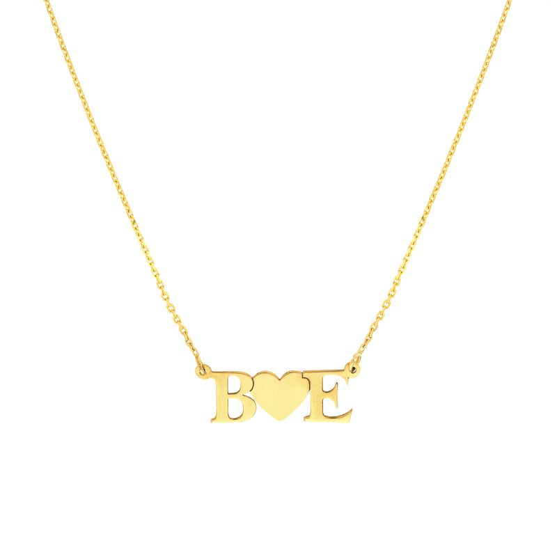 14K GOLD LETTERS & HEART NECKLACE