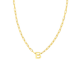14K GOLD BLOCK INITIAL ON PAPERCLIP NECKLACE