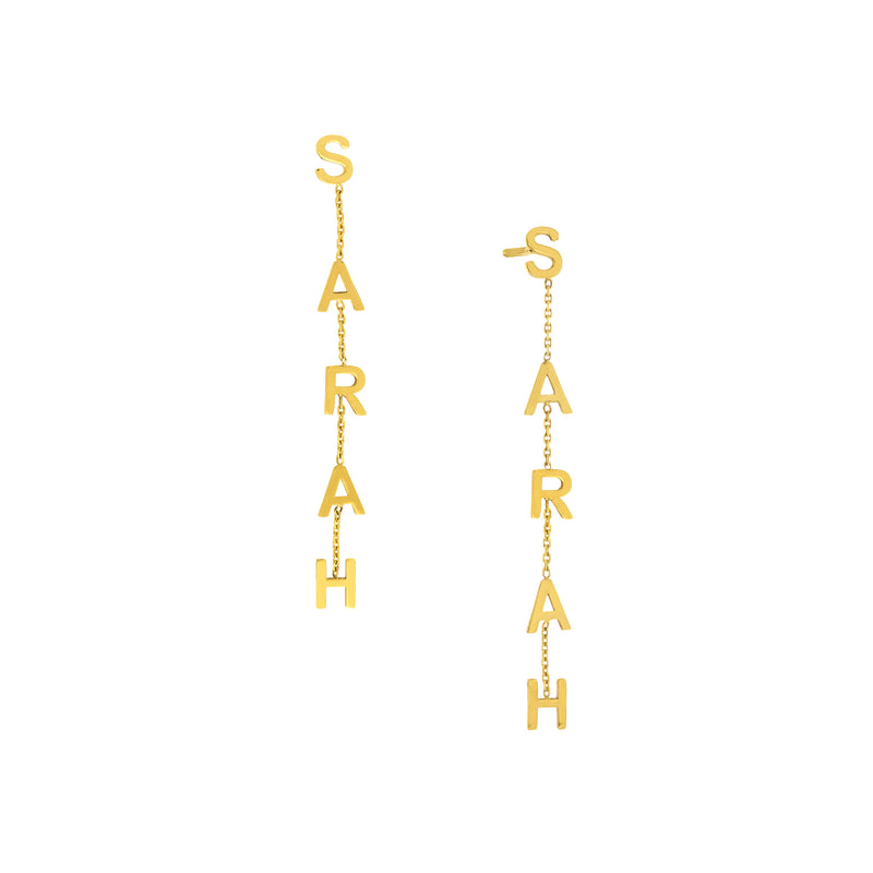 dangle initial earrings