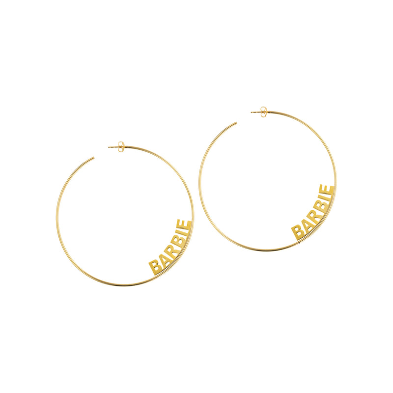 14K BLOCK NAME HOOP EARRINGS