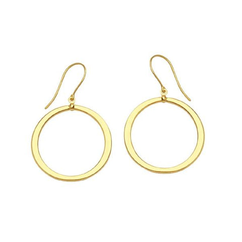 "14k gold hanging 1"" diameter flat hoops"