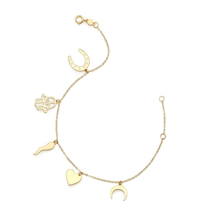 14k gold good luck charm bracelet