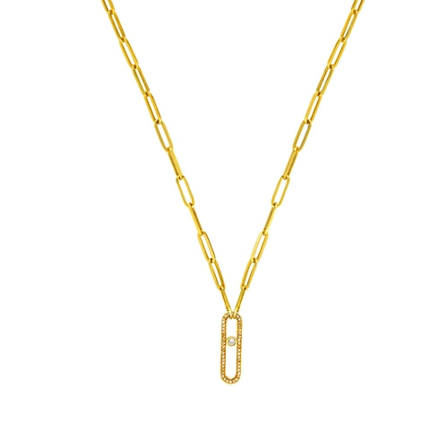 14K GOLD DIAMOND PAPERCLIP LARIAT