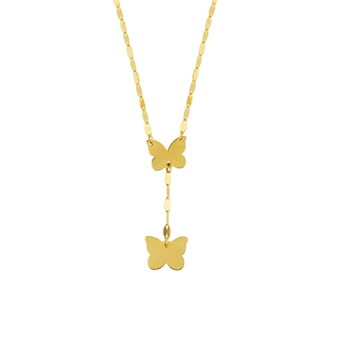 gold butterfly lariat necklace