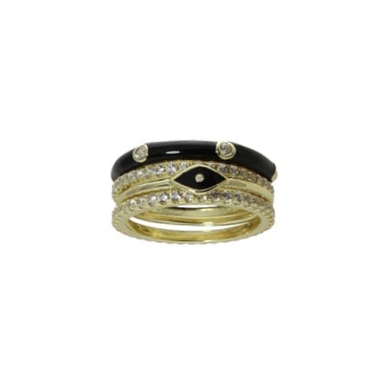 ENAMEL EVIL EYE RING STACK