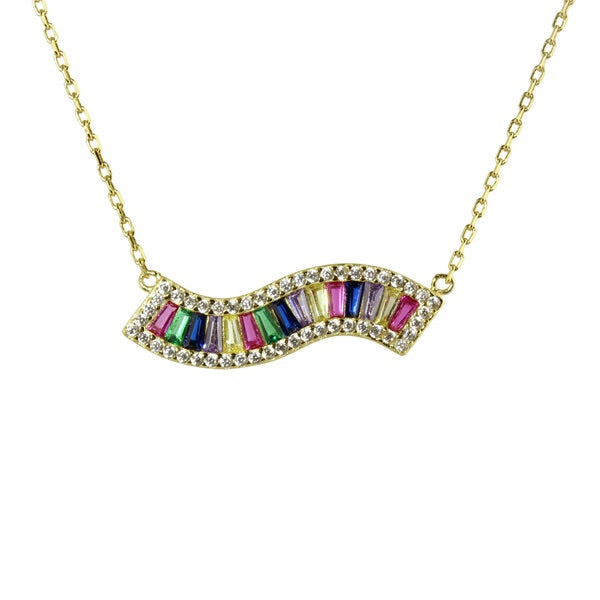WAVY RAINBOW BAR NECKLACE