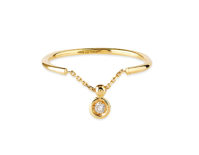 BEZEL SET DIAMOND SLIDING RING 14K
