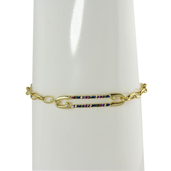 RAINBOW LONG LINK PIN BRACELET