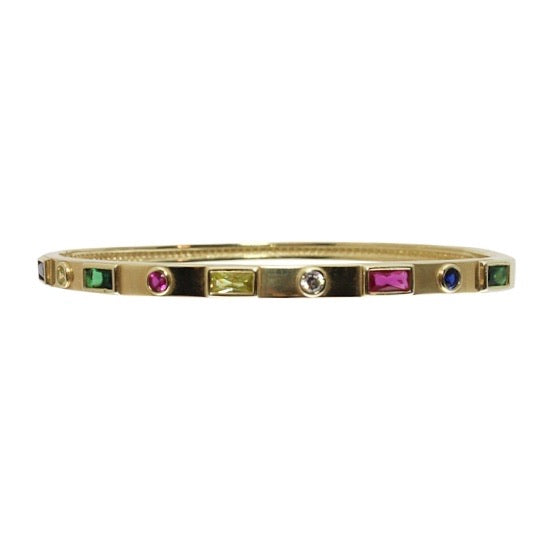 MULTI SHAPE RAINBOW INLAY BANGLE