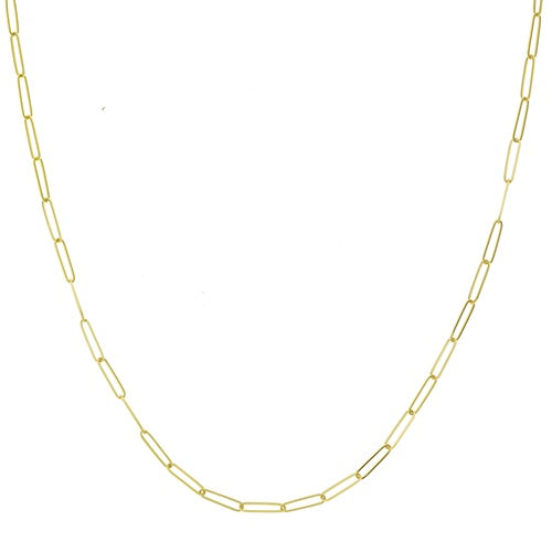 14K SOLID GOLD PAPERCLIP LINK NECKLACE