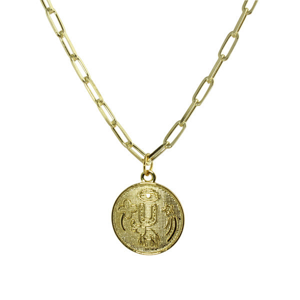 LONG LINK NECKLACE WITH GOOD LUCK COIN