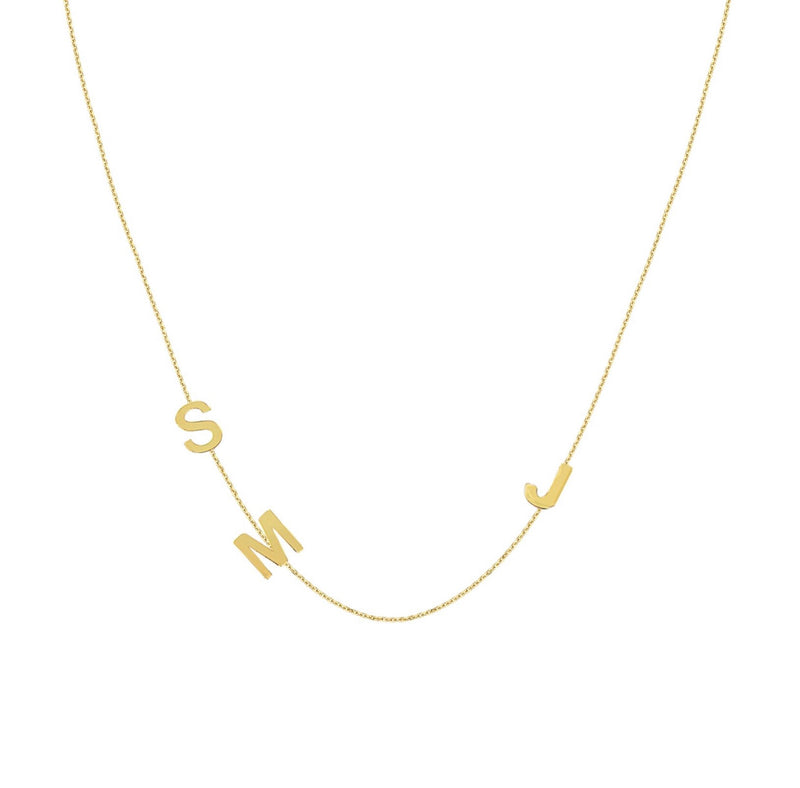 14K BLOCK LETTERS FAMILY INITIAL NECKLACE