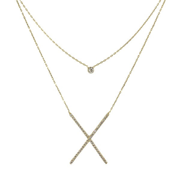 DOUBLE LAYER X NECKLACE