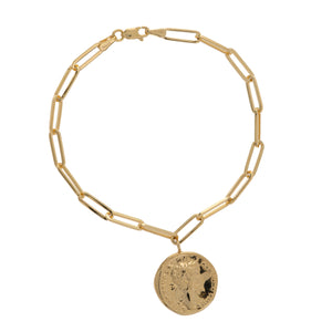14K DANGLE MEDALLION LINK BRACELET