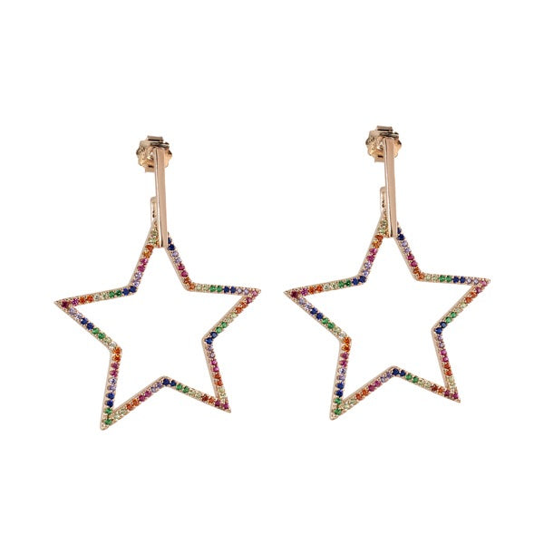 RAINBOW BIG STAR DROP EARRINGS