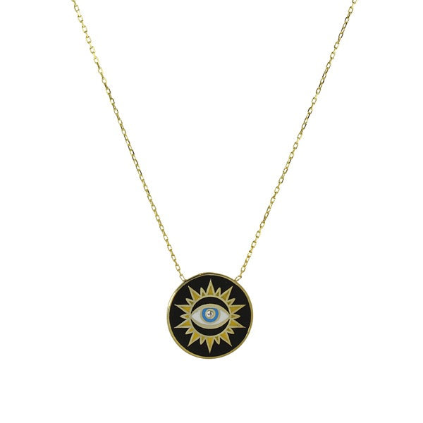 ENAMEL EVIL EYE DISC NECKLACE