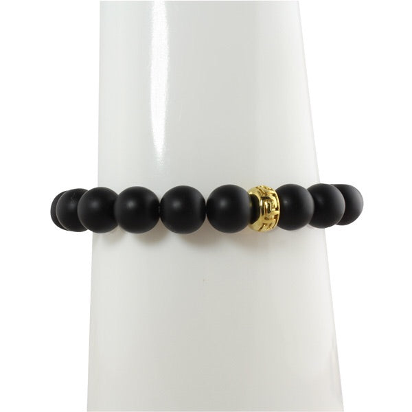 ONYX BEAD BRACELET WITH SMALL RONDELLES