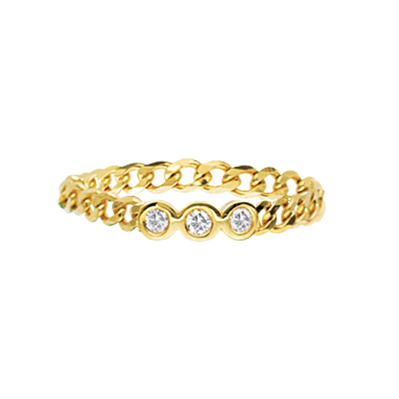 14K GOLD TRIPLE DIAMOND CURB CHAIN RING
