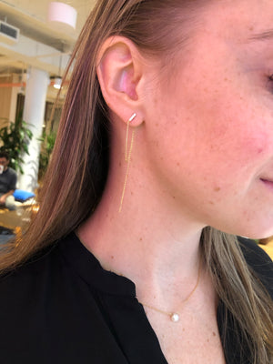 BAR & DOUBLE CHAIN EARRINGS 14K - adammarcjewels