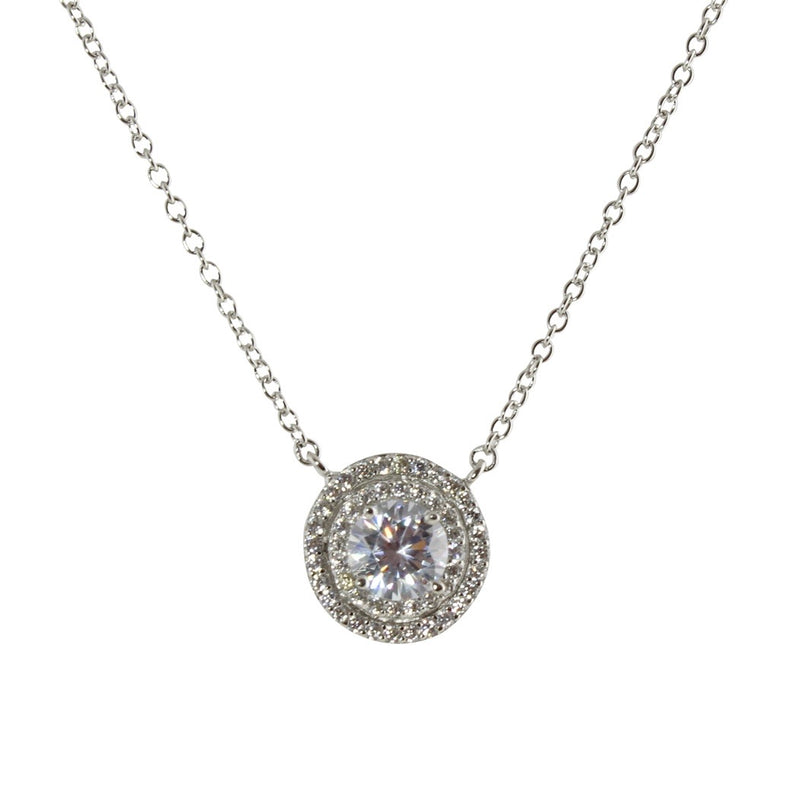 CZ SOLITAIRE HALO NECKLACE