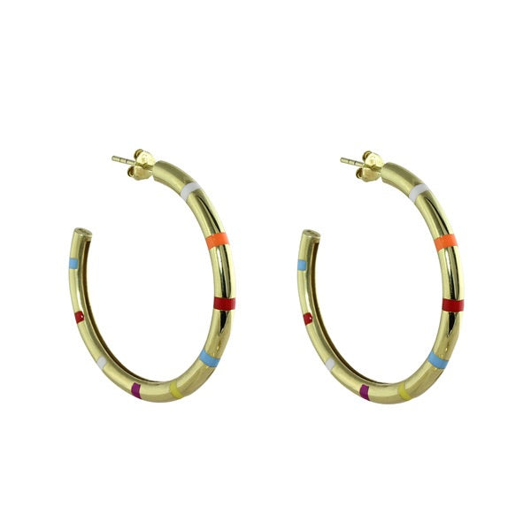 GOLD RAINBOW STRIPE HOOP EARRINGS