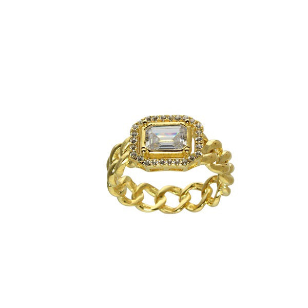 SOLID LINK SQUARE STONE RING