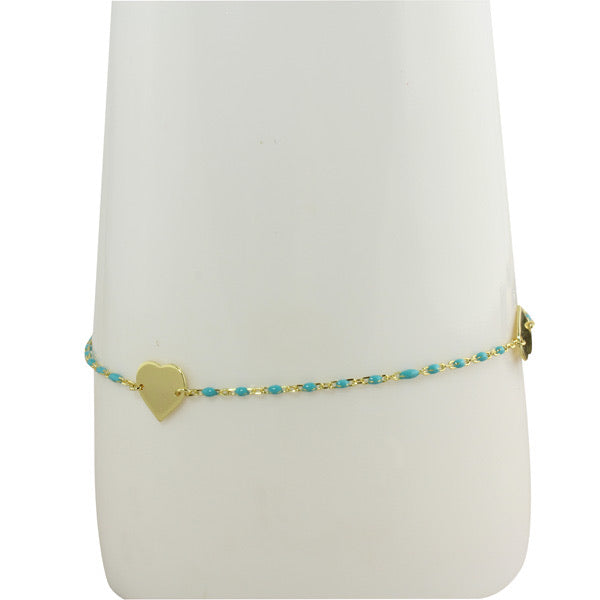 TURQUOISE ANKLET WITH GOLD HEARTS
