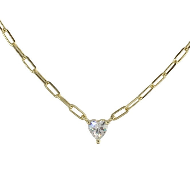 SOLITAIRE HEART LINK NECKLACE