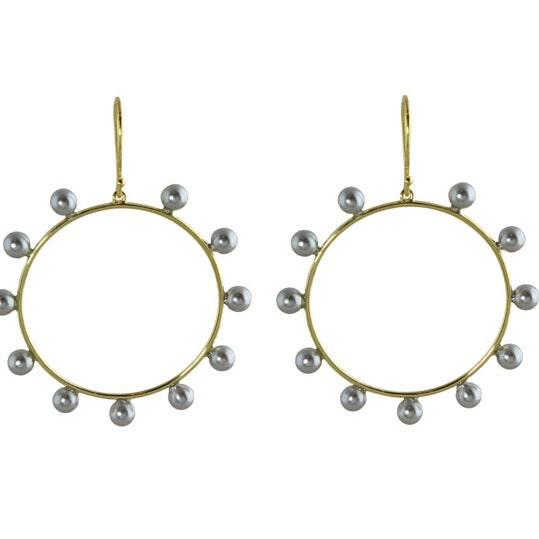 GREY PEARL PINWHEEL HOOP EARRINGS