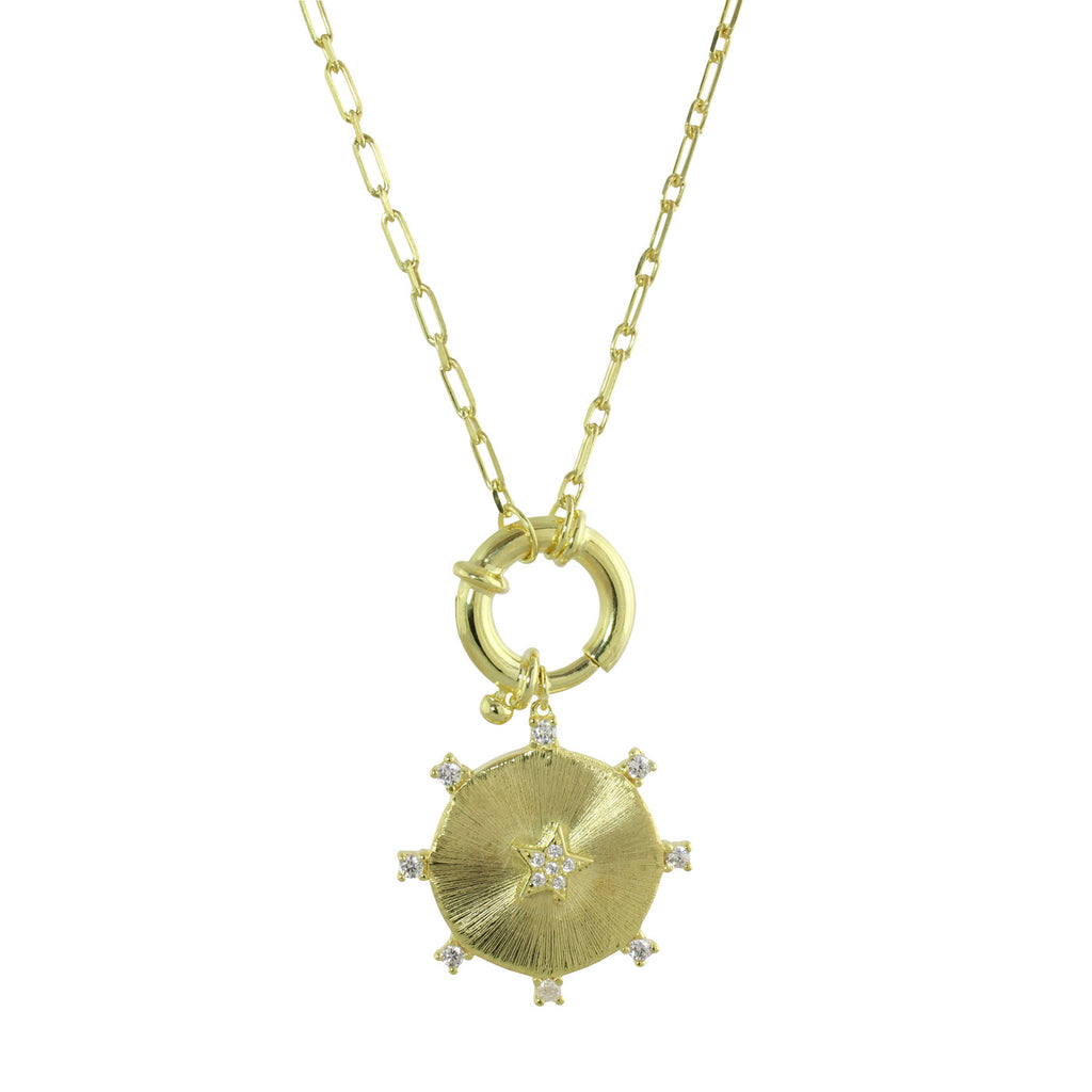 SPRING LOCK & WHEEL LINK NECKLACE