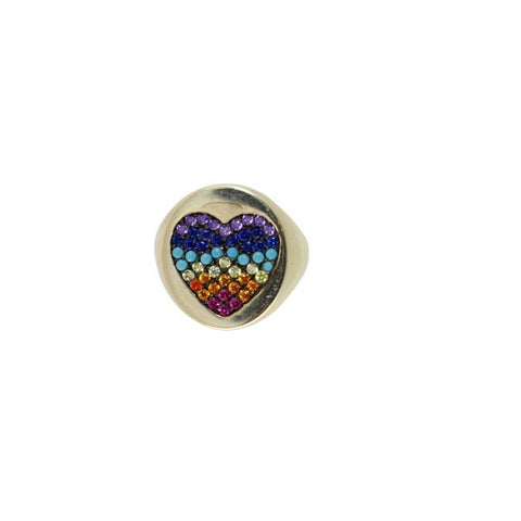 RAINBOW HEART SIGNET RING