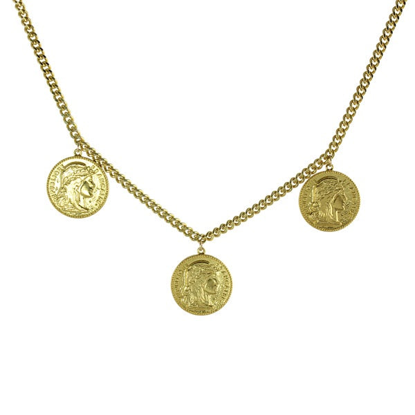 3 COIN CURB NECKLACE