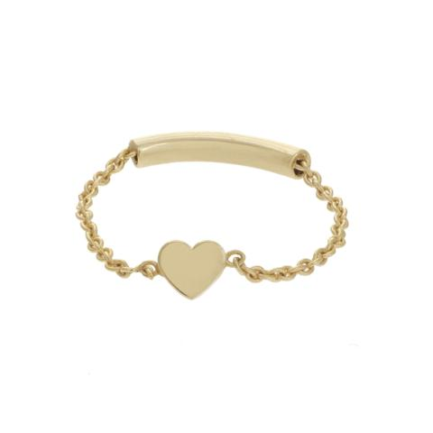 MINI HEART CHAIN RING 14k