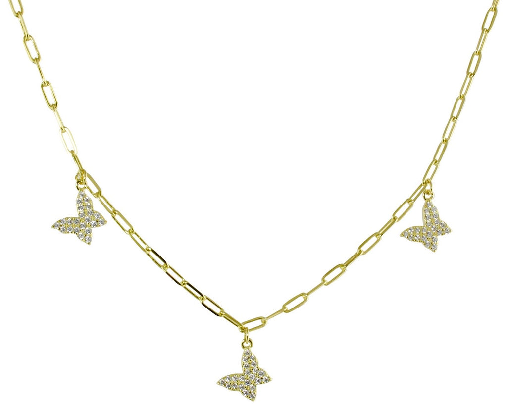 TRIPLE BUTTERFLY LINK NECKLACE