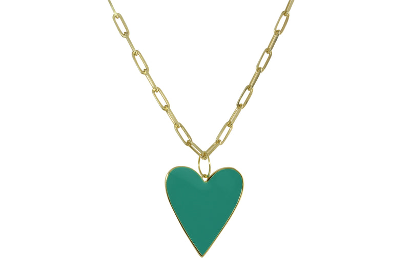 JUMBO TURQUOISE ENAMEL HEART NECKLACE