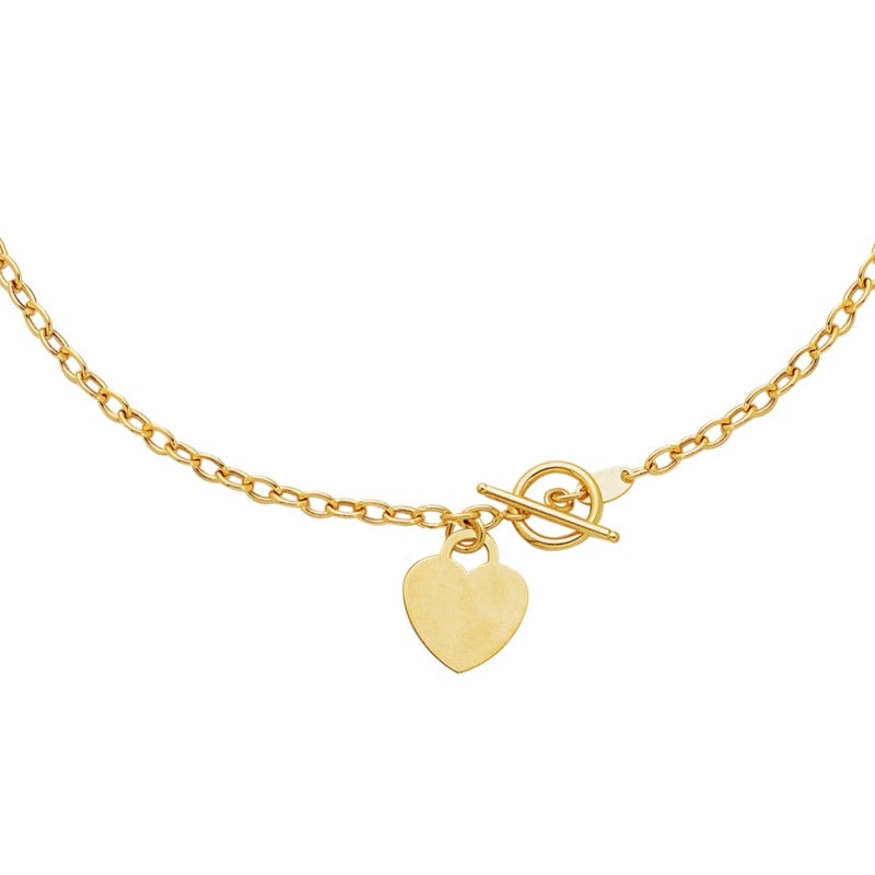 14K GOLD HEART TOGGLE NECKLACE