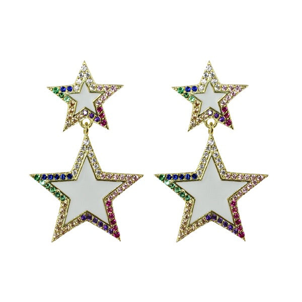 ENAMEL DOUBLE STAR EARRINGS - adammarcjewels