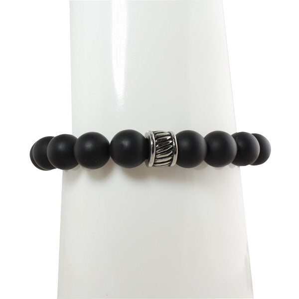 ONYX MENS BRACELET WITH BIG RONDELLES