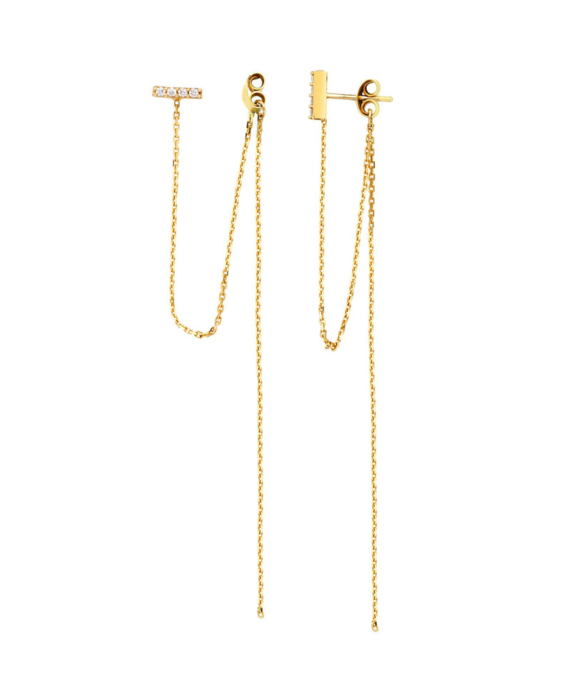 BAR STUD & DOUBLE CHAIN EARRINGS 14K