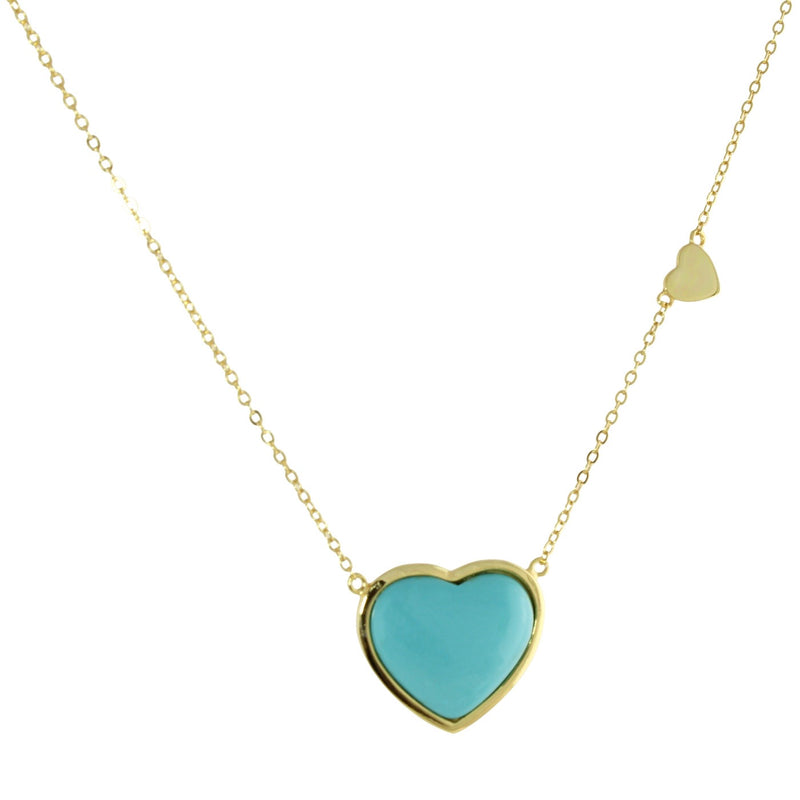 TURQUOISE PUFFED HEART NECKLACE