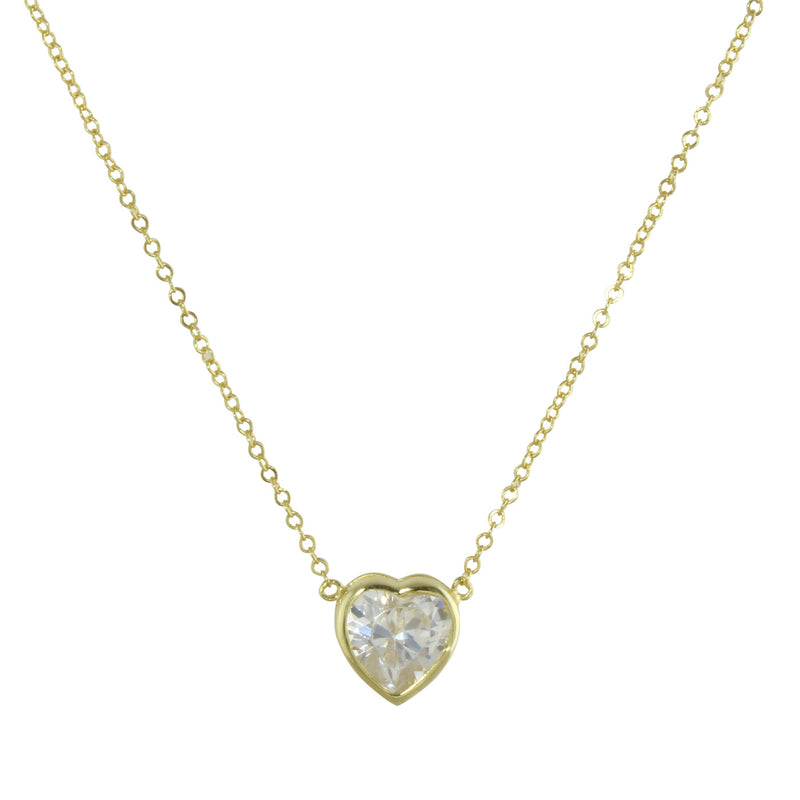 BEZEL SOLITAIRE HEART NECKLACE