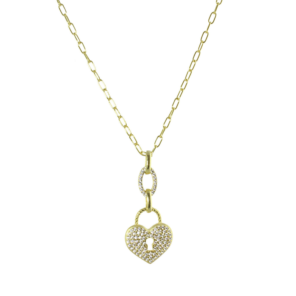 PADLOCK HEART LINK NECKLACE