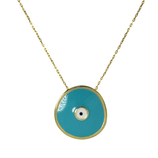 TURQUOISE ENAMEL WAVY EVIL EYE NECKLACE
