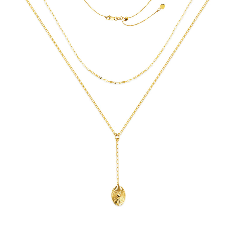 DOUBLE LAYER SUN DISC LARIAT 14K - adammarcjewels