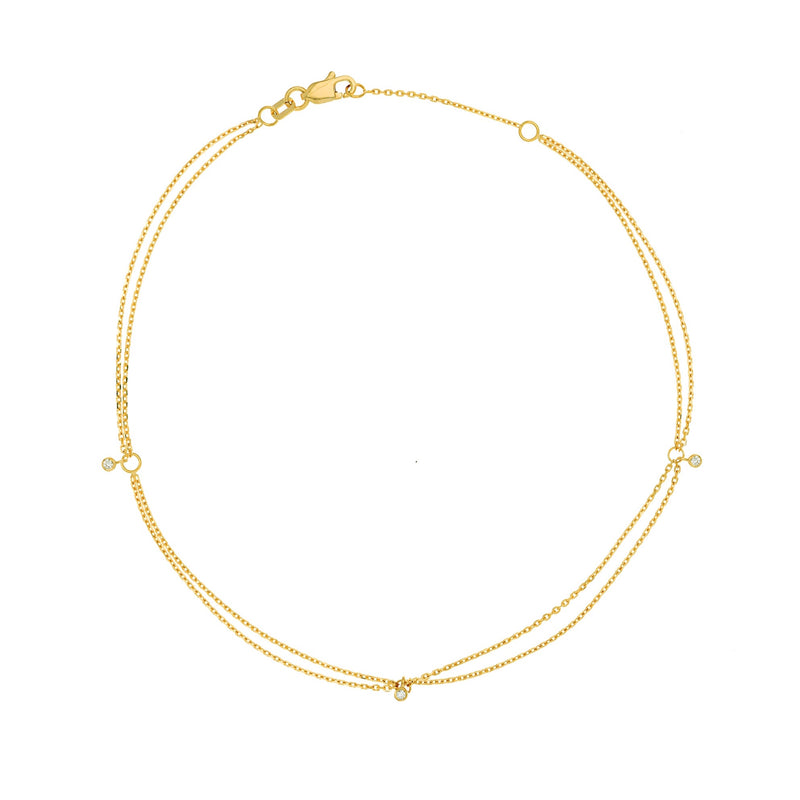 14K DOUBLE  DRAPED DIAMOND ANKLET
