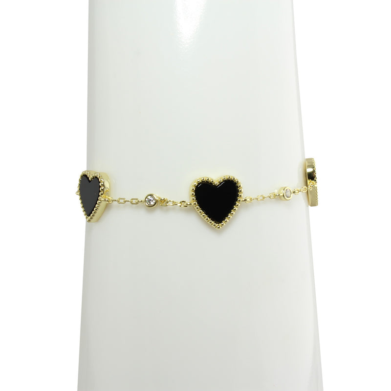 Black enamel heart station bracelet