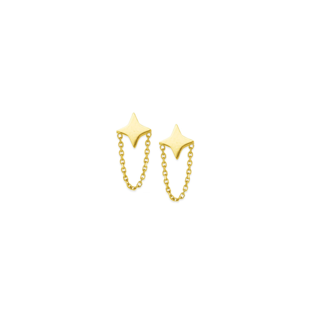 14k STAR & CHAIN EARRINGS - adammarcjewels