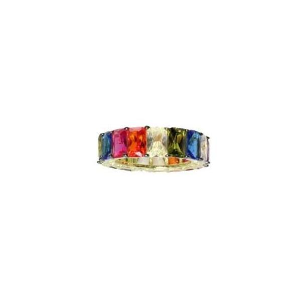 EMERALD CUT MULTI-COLORED BAND - adammarcjewels