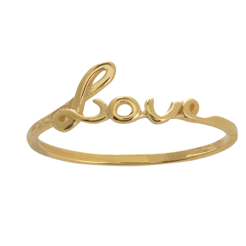GOLD SCRIPT LOVE RING - adammarcjewels