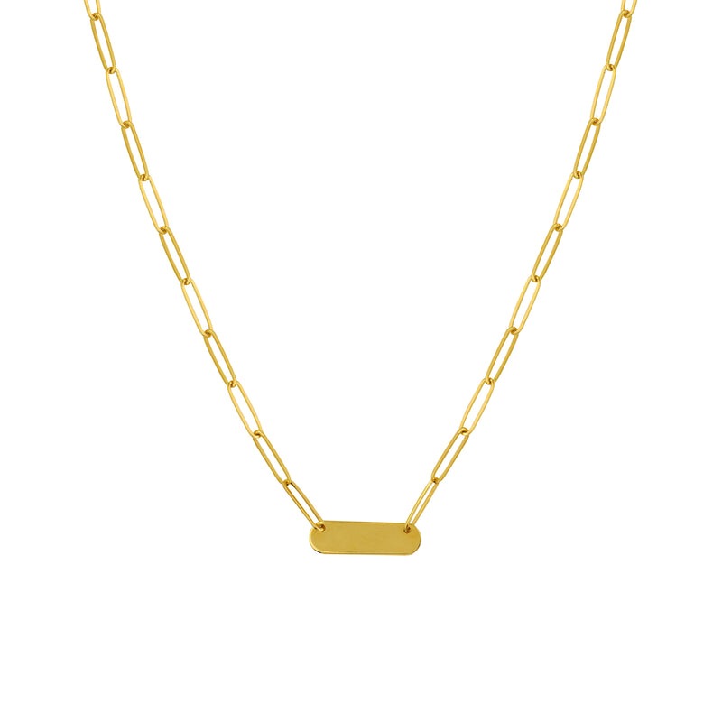 14K PAPERCLIP BAR NECKLACE